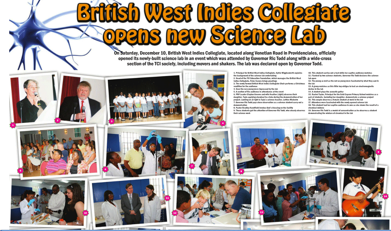 new science building at British West Indies Collegiate turks and Caicos Islands