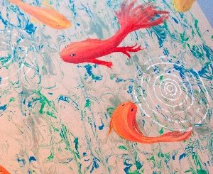 Dessa Douglas in Grade 10, produced a fantastic painting of Koi Carp, using a combinative of a marbling technique and acrylic, which had so much interest, was entered into the' Live Auction' along with the Professional Artists work and sold for a staggering $1,000