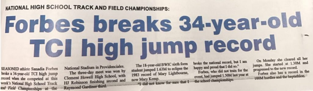Sanadia Forbes breaks TCI high jump record. Student at British West Indies Collegiate