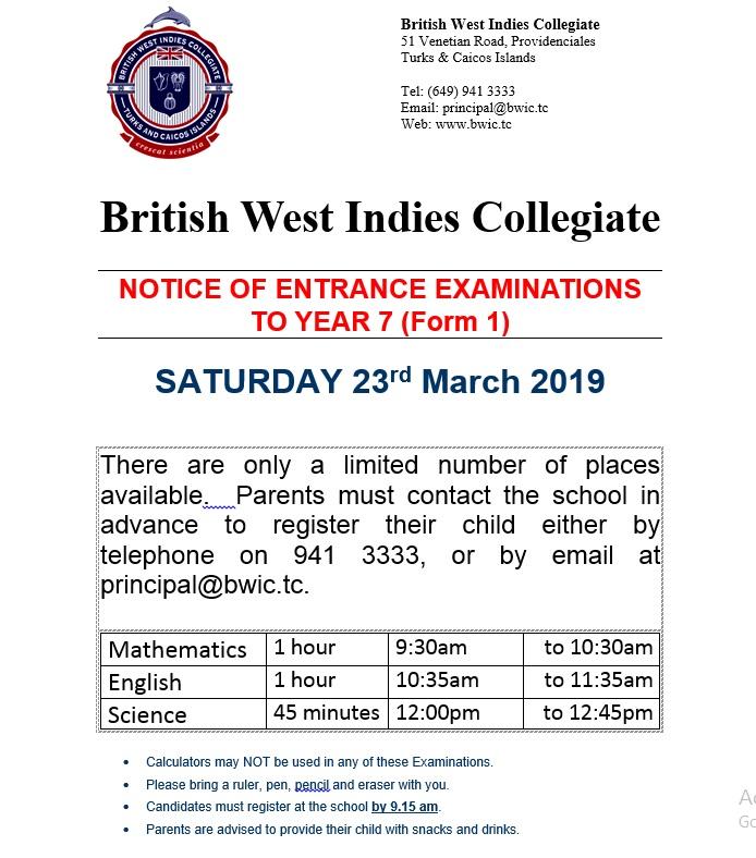 British West Indies Collegiate Year 7 entrance exams 2019